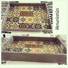 Çini desenli tepsi Decoration, Decoupage, Tray, Storage, Furniture, Home Decor, Box, Trays, Recycling