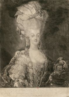 Portrait of Marie Antoinette - Print from the 18th century