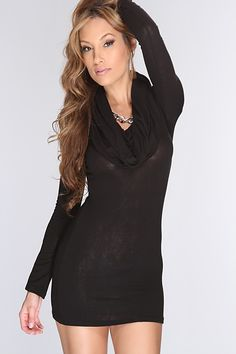 Are you looking for something over the top sexy to wear for tonight? Well we have it for you! This stylish dress is a must have! It will catch attention where ever you go.  Featuring cowl neckline, long sleeve, fitted, and above the knee length.  68%Polyester 28%Rayon 4%Spandex Made in USA