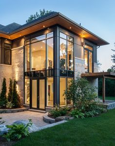 Modern Home Exterior Limestone Design Ideas, Pictures, Remodel and ...