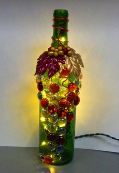 Red Gold and Green Upcycled Wine Bottle Light Night by booklooks, $20.00