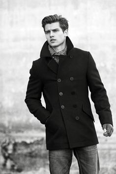 Don't know who this is but he is attractive and wearing a peacoat.