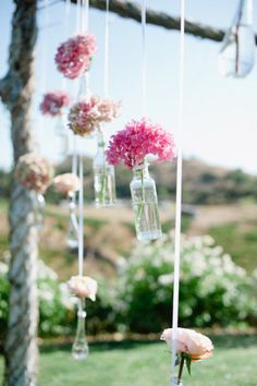 Hanging flowers and glass vases. Style Me Pretty | Gallery | Picture | #737921 *