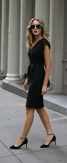 Classic black sheath dress + ankle strap black pumps {Eliza J, Sam Edelman, affordable workwear, under $100, office style, wear to work}