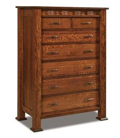 Amish Sequoyah Seven Drawer Chest of Drawers Delightful storage for bedroom. Strong dovetailed joints ensure longevity. Amish made in choice of wood, finish and hardware. You can even add a deep blanket drawer if you wish for all those plush, oversize throws! #bedroomchests #chestofdrawers #woodbedroomfurniture