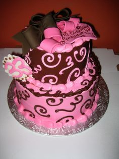 Pink & Brown Bow Birthday Cake - Sweet Treats Bakery
