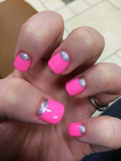 Silver half moons and hot pink #gel #manicure