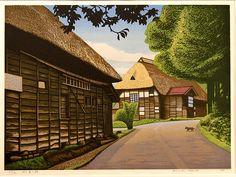 Kayou Street by Koichi Maeda, woodblock print, 1999