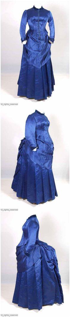 Corn-blue silk maternity dress with velvet cuffs, 1882-85, ModeMuseum. Via Europeana Fashion Tumblr.