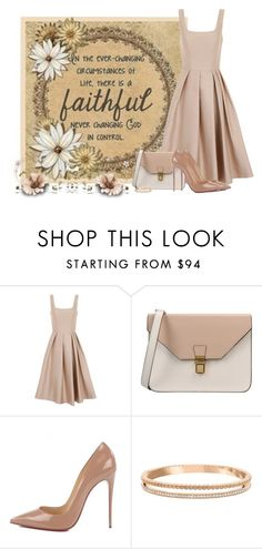 """God is Faithful"" by barbarapoole ❤ liked on Polyvore featuring Chi Chi, 8, Christian Louboutin and Swarovski"