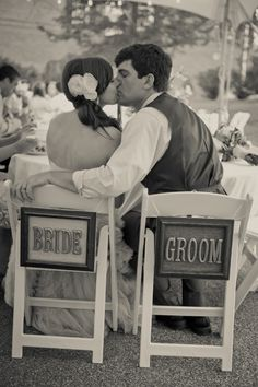 Bride and Groom signs wooden letters in frames for back of chairs at wedding reception; Upcycle, Recycle, Salvage, diy, thrift, flea, repurpose, refashion!  For vintage ideas and goods shop at Estate ReSale & ReDesign, Bonita Springs, FL  from:  rusticweddingchic.com