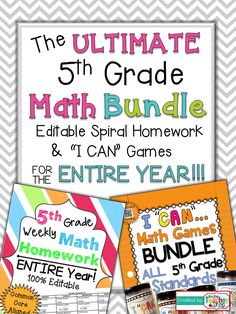 """Math Homework & Math Centers for the ENTIRE YEAR of FIFTH GRADE!!! Includes my 100% EDITABLE Spiral Math Homework, & my """"I CAN"""" Math Games. All Aligned to the Common Core Standards. The ULTIMATE Math Bundle for 5th Grade $"""