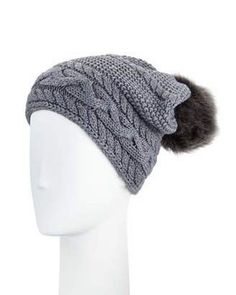 Shop Now - >  https://api.shopstyle.com/action/apiVisitRetailer?id=537236564&pid=uid6996-25233114-59 UGG Cable-Knit Beanie w/ Pompom, Steel  ...
