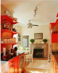 Love the use of orange in this kitchen!  #ppgorange