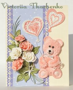 Adorable pink bear - Valentine Quilling Card - Valentine's Day quilling Card - Anniversary quilling Card - Love quilling card