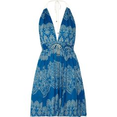Zimmermann Drifter floral-print cotton beach dress ($160) ❤ liked on Polyvore featuring dresses, vestidos, beach, azure, cotton floral dress, zimmermann dresses, floral dress, cotton halter top and floral print dress