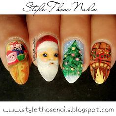 http://stylethosenails.blogspot.com/2015/12/40-great-nail-art-ideas-christmas-nails.html Style Those Nails: 40 Great Nail Art Ideas: Christmas Nails - Freehand Santa Nails with Step by Step Tutorial