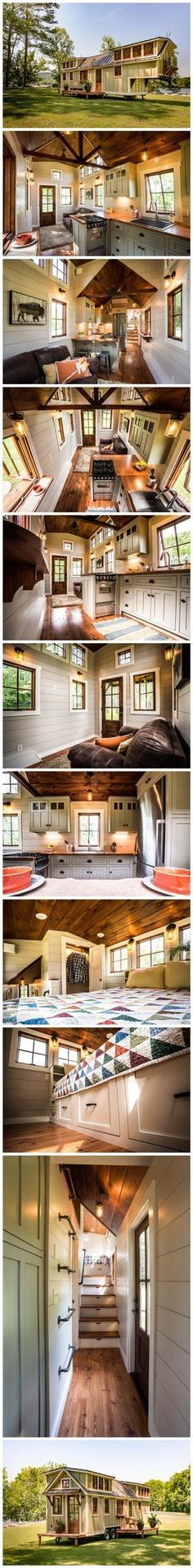 Love the style, needs more color. Tiny House On Wheels, Small House Plans, Timbercraft Tiny Homes, Small House Living, Living Room, Tiny House Nation, Up House, House Floor, Tiny House Movement