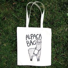 Alpaca Bag - Illustrated Screen Printed Tote Bag by KatieAbeyDesign on Etsy https://www.etsy.com/listing/227272262/alpaca-bag-illustrated-screen-printed