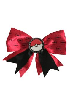 Pokemon Pokeball Bottle Cap Clip on Hair Bow  Cosplay Bow Tie Licensed NWT #Nintendo
