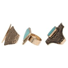 • Statement pieces with distinctive shapes<br>• Beautiful turquoise colored stone<br>• Textured casting for a bohemian look<br><br>Alluring timeless statement rings for a fashion forward style.  These unique shapes will spice up any outfit and make you stand out in the crowd.