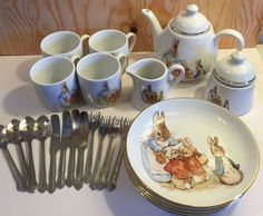 Beatrix Potter Peter Rabbit Large Play Tea Set Dishes Reutter Germany Porcelain  #Reutter