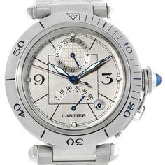 Cartier Pasha Power Reserve GMT Mens Steel Watch W31037H3