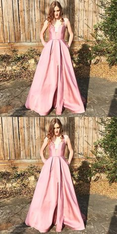 Pink Prom Dresses Long, Princess Prom Dresses for Teenagers, 2019 Prom Dresses with Pockets, V-neck Prom Dresses Satin #FansFavs #pinkdress #princessdress #dresswithpockets #promdress #2019