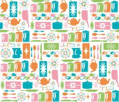 My Retro Kitchen Pink fabric by designedtoat on Spoonflower - custom fabric