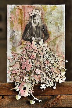 praca, która powstała na sobotnich warsztatach w Stonogi.pl   blejtram 18x24 cm     z użycie ogromnej ilości Wycinanek   bordery z kwia...