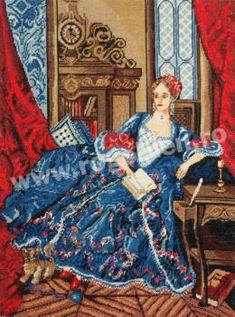 Madame de Pompadour Embroidery, Painting, Style, Fire, Figurative, Punto De Cruz, Dots, Swag, Needlepoint