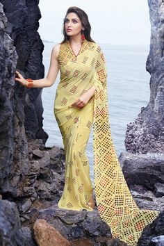 JMV Designer Yellow Pattern Georgette Saree Rs999 Model JMV-SR-03 Brand JMV Color Yellow Fabric Georgette With blouse For more details call us 7838022722 or visit www.ambitionmart.com