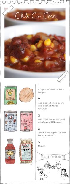 May make this tomorrow or Friday! Vegan - Chili Con Corn- not sure about this one.  There seems to be a lot of canned and bottled ingredients.  I'd probably add more fresh veggies, nix the BBQ sauce, and replace it with chili powder, cayenne pepper, and white wine vinegar. And some other spice too but the combination is not coming to me.  So basically, change the whole recipe. :P