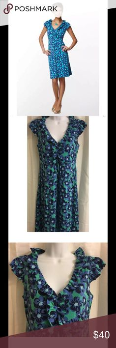 """Lilly Pulitzer Silk Jersey Clare Dress Small Lilly Pulitzer Clare Dress S Small Silk Jersey Floral Blue Green Ruffles Flutter  Flutter sleeve dress with an empire waist and ruffles at neckline Silk cotton single knit jersey Excellent, gently used condition - no flaws noted - looks new Approximate measurements: Chest = 16"""" across laid flat Length = 40"""" from shoulder to hem Lilly Pulitzer Dresses"""