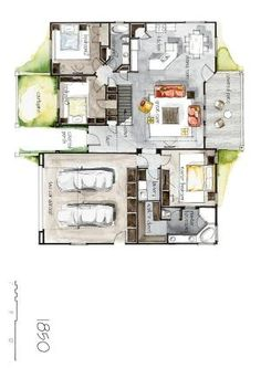 Real Estate Color Floor Plan and Elevation 4 by Boryana, via Behance watercolour plans House Sketch Design, Interior Design Sketches, Interior Rendering, House Design, Croquis Architecture, Architecture Plan, Interior Architecture, The Plan, How To Plan