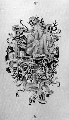10 of Clubs - 52 Aces, 2012. Original work is 200x350mm (7,8x13,7 inches aprox.), indian ink and graphite on Fabriano paper.