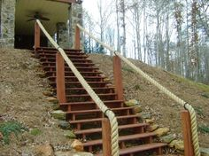 Rope handrail for stairs to pond dock Steep Backyard, Backyard Retreat, Backyard Patio, Backyard Landscaping, Outdoor Stair Railing, Stair Handrail, Rope Railing, Rope Fence, Handrail Ideas