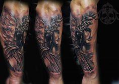 Female angel tattoo by Teo Artist