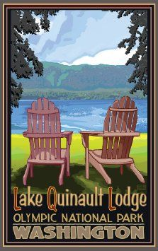 Northwest Art Mall Lake Quinault Lodge Washington Adirondack Chairs Unframed Poster Print by Joanne Kollman, 11-Inch by 17-Inch