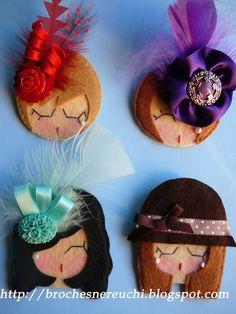 Love the fanciness Cute Crafts, Felt Crafts, Diy And Crafts, Crafts For Kids, Felt Dolls, Paper Dolls, Diy Y Manualidades, Barrettes, Felt Brooch