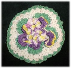 SALE Pretty Vintage Crocheted Ruffled Purple Pansy Sachet
