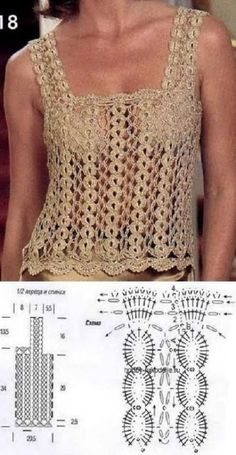 52 Free Easy Crochet Tops For This Summer 2019 - Page 12 o Débardeurs Au Crochet, Crochet Tunic Pattern, Crochet Woman, Crochet Cardigan, Easy Crochet, Crochet Stitches, Crochet Patterns, Crochet Tank Tops, Corsage