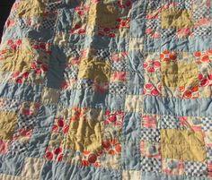 "Doll Patchwork Quilt Mid Century Various Designs Colors 21""x17.5"" Circle, Floral"