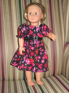 "Pink and black sparkle dress for 18"" doll."