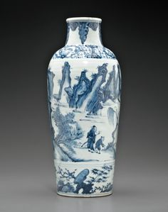 A blue and white tapering cylindrical vase, Late Ming dynasty, Wanli-Tianqi period, circa 1620.