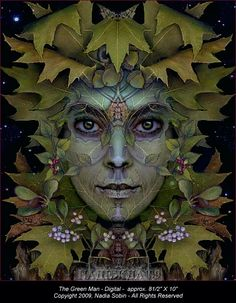 The Green man only appears to Mika as a voice in the leaves.