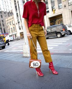NYFW 2016 Street Style || Unconscious Style by Stephanie Arant @shhtephs || Red zip front tshirt, tan culottes, red patent leather boots.