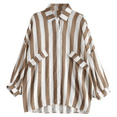 Oversized Button Up Striped Blouse Khaki (119235 PYG) ❤ liked on Polyvore featuring tops and blouses
