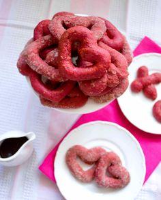 Vegan baked beetroot cinnamon donut hearts recipe