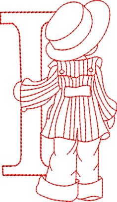 Embroidery Designs Sunbonnet Alphabet I Embroidery Alphabet, Crewel Embroidery, Vintage Embroidery, Cross Stitch Embroidery, Sunbonnet Sue, Applique Patterns, Machine Embroidery Designs, Bordado Popular, Alphabet Design